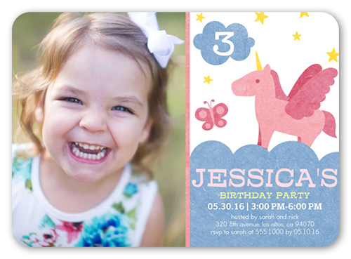 pretty unicorn 5x7 girls party invitations shutterfly