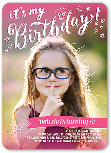 Pink Photo Birthday Invitation Shutterfly