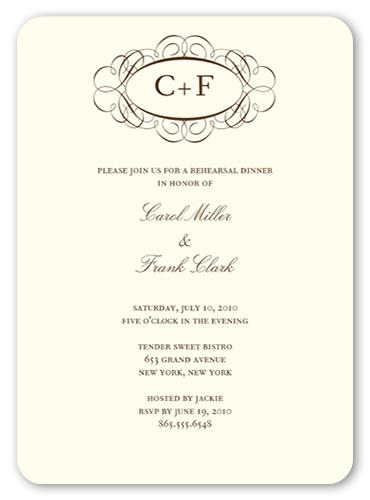 Fancy Monogram Cream Rehearsal Dinner Invitation Shutterfly