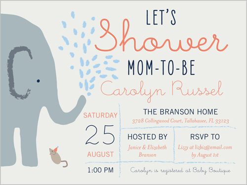 Elephant Shower Boy 4x5 Baby Shower Invitation Cards