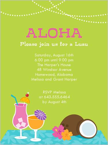 Coconut Luau 4x5 Invitation Card Party Invitations