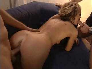 Blonde Cutie Taking Two Cocks. Double Facial Cumshot