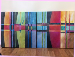 Two Abstract 24 x 24 paintings by Michelle Courier