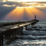 Sun rays on the North Pier by Bob Walma