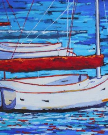 reproduction print of original painting of sailboat in water