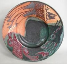 B'ORIBE PLATE - 2004 - PORCELAIN WITH MULTIPLE GLAZES