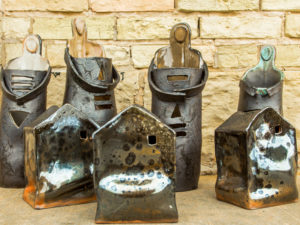 Cyndi Casemier ceramic ladies and slumped porcelain houses