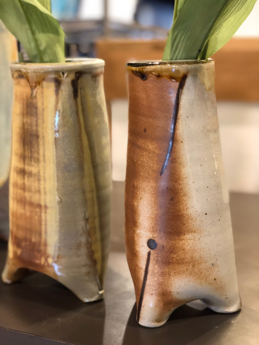 Three legged wood fired vases by Julie Devers