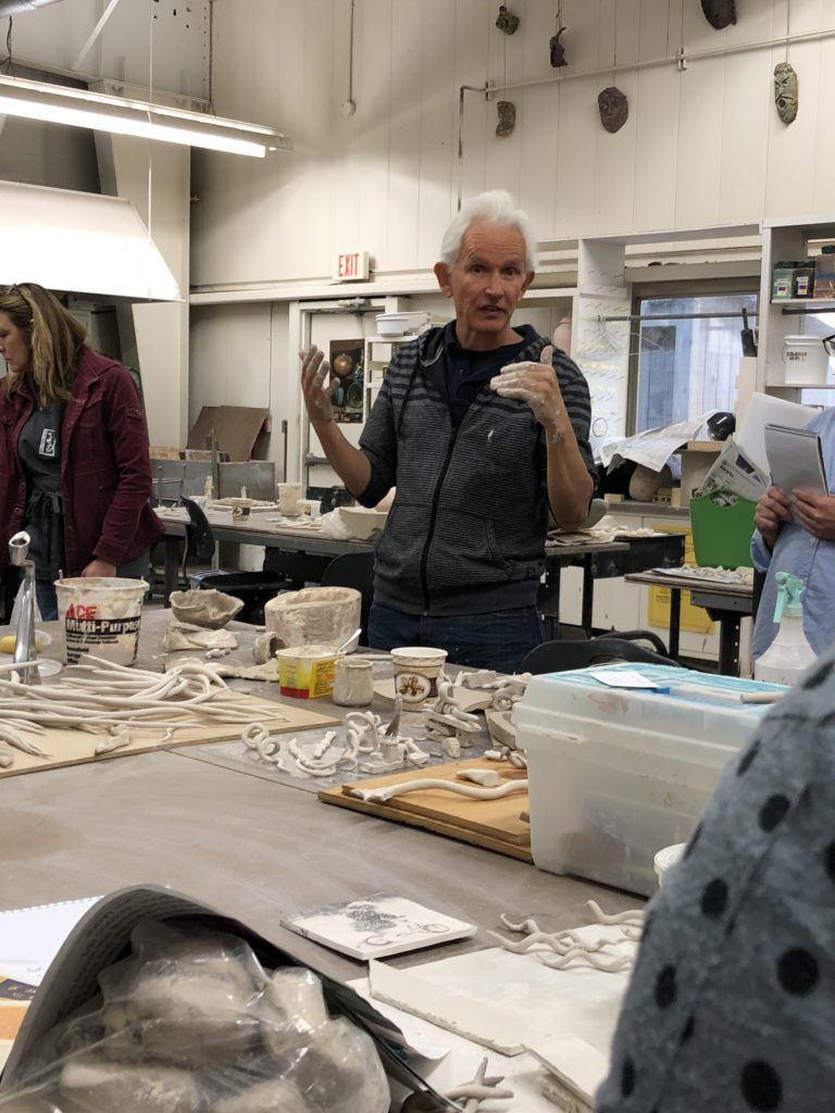 Graham Hay instructing possibilities with paperclay