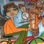 Roadie oil pastel by Kerry Rolewicz