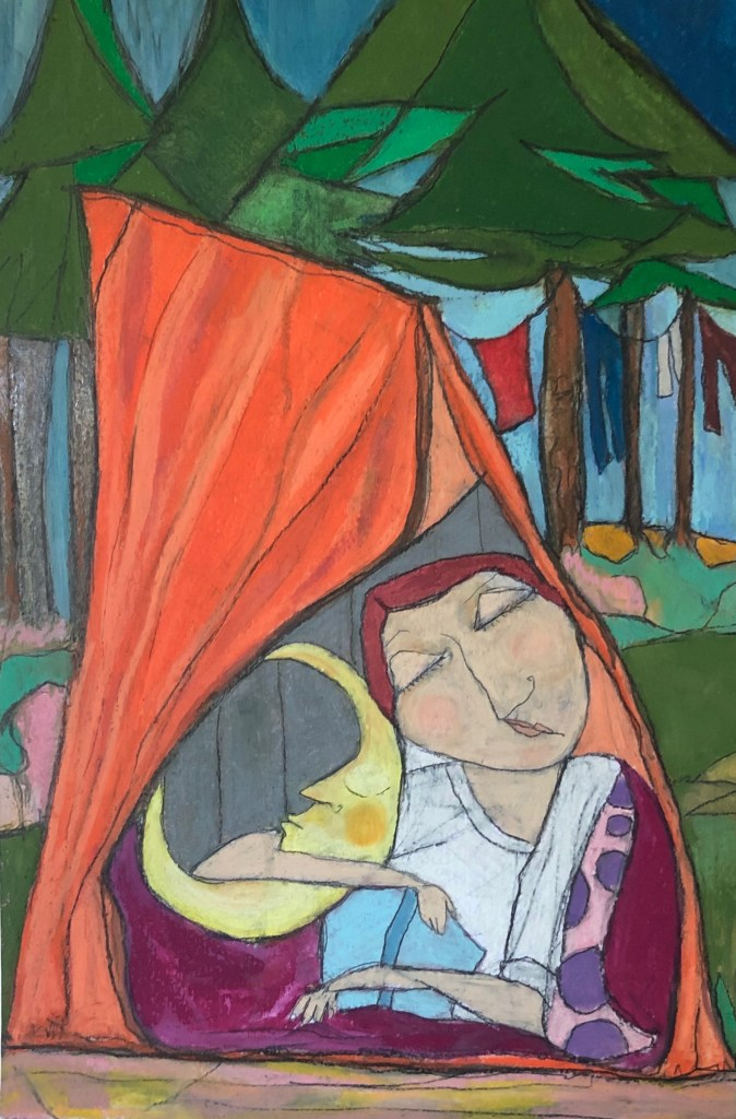 Camping oil pastel by Kerry Rolewicz