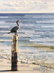 Cormorant on a Post Mixed Media
