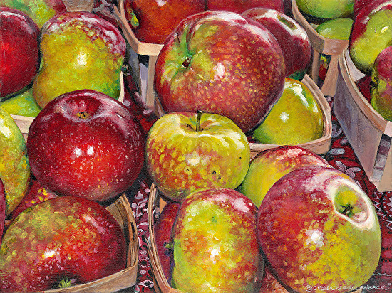 michigan apples painting by laura hollenbeck