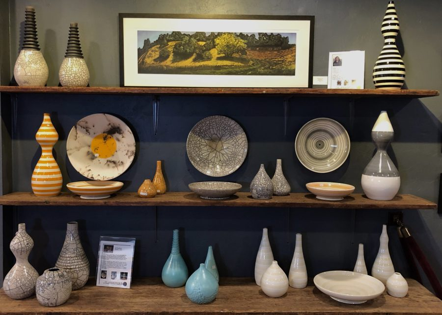 Mid century modern designed pottery by Jeff Blandford and original hand pulled print by lee ann frame