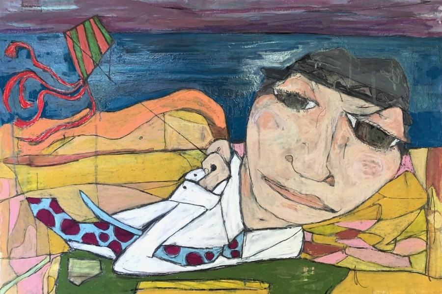 Whimsical painting by Kerry Rolewicz working man on a windy day