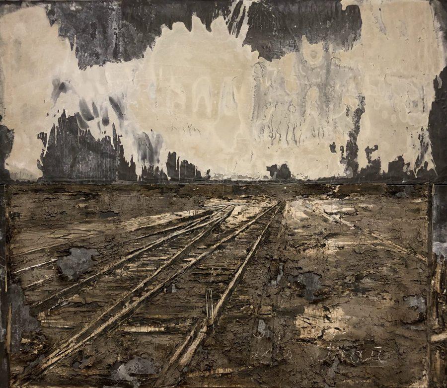 Mixed media German artist artwork regarding nazi's destruction