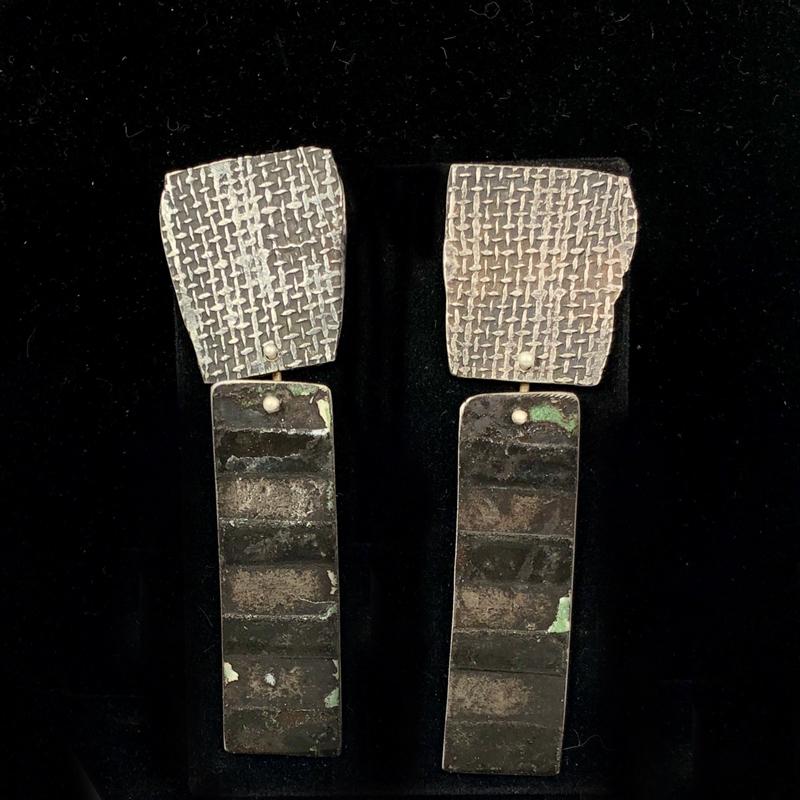 handmade striped enameled steel earrings