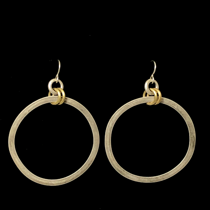 Flat Hoops in Silver with Gold Rings
