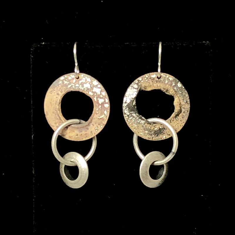 handmade earrings with 3 small hoops