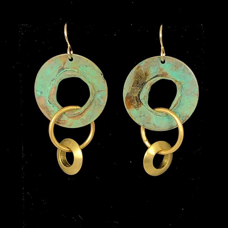 Triple Hoop Turquoise Gold