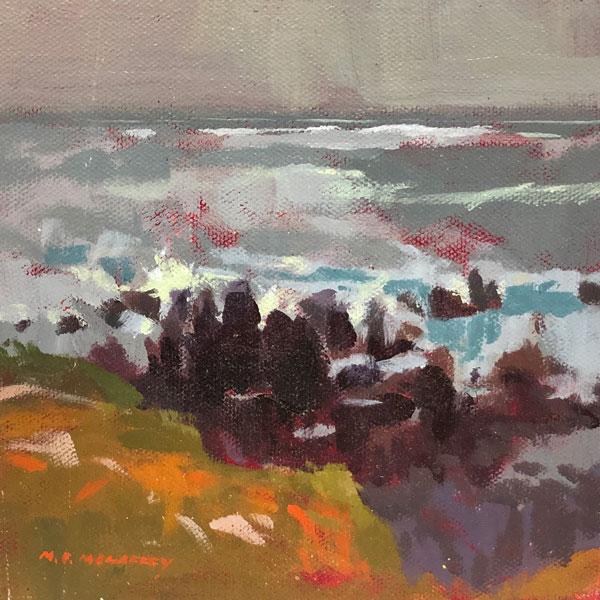 original acrylic painting of beach rocks
