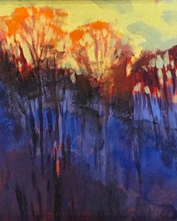 original acrylic painting of trees in the evening
