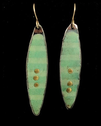 handmade enameled steel earrings with stripes and gold dots