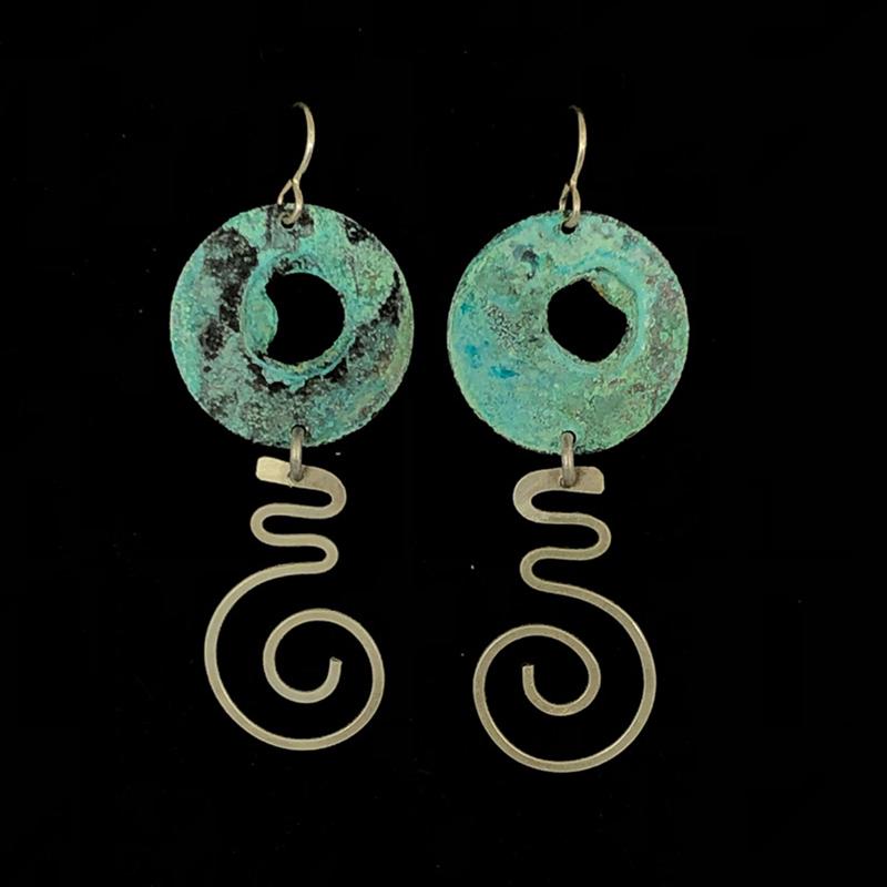 Aqua Silver Cutout Disc Dangle Earrings