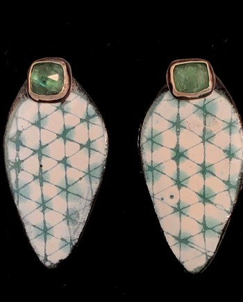 handmade enameled steel earring jackets with shibori pattern and removable tourmaline studs
