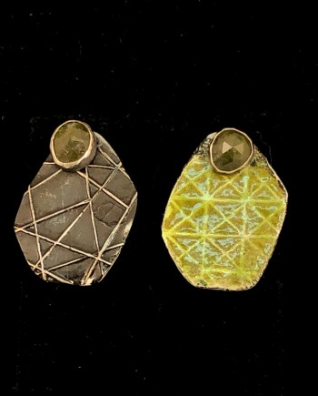 reversible and removable earring jackets with vesuvianite stone studs handmade