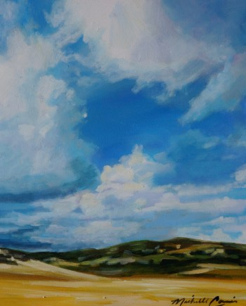 original painting of blue skies and clouds with mountains in the background