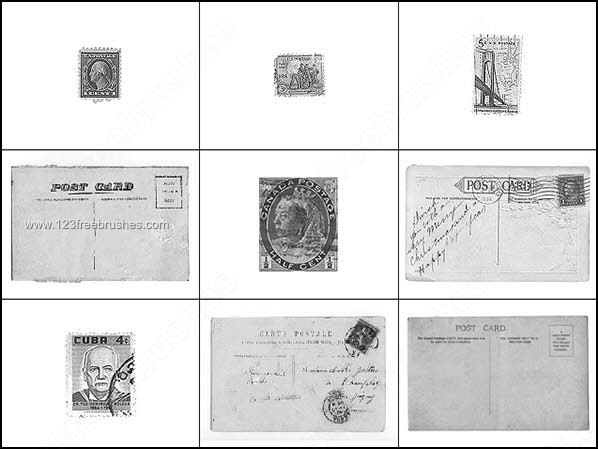 Vintage Postcards and Stamps Brushes   Photoshop Free ...