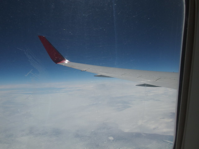 In the air, on our way at last
