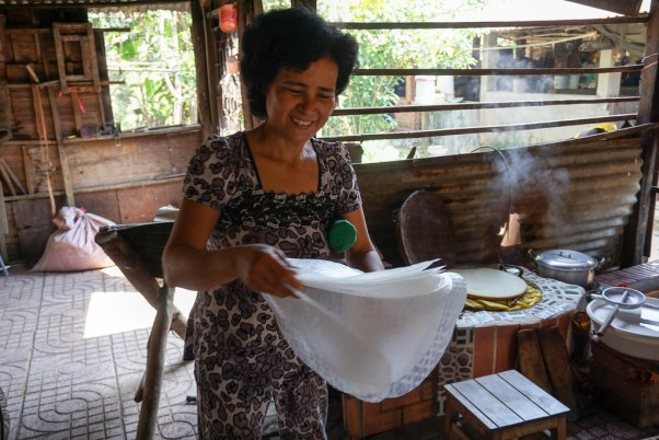 Learning How to Make Rice Paper During Cu Chi Tunnels Tour with Urban Adventures from Ho Chi Minh City, Vietnam, April 2016