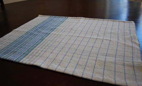 Handwoven blue cotton broken twill towel