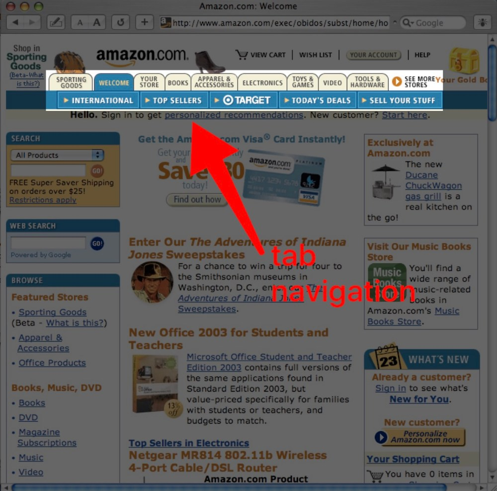 Amazon.com homepage (c.2004) showing their use of the tabbed navigation web design pattern