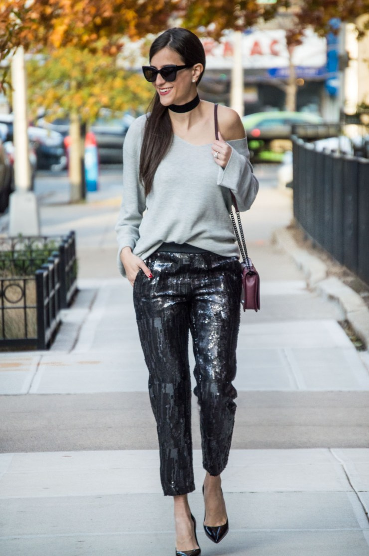 holiday outfit with sequins joggers