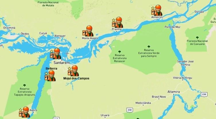Crescimento leva Igreja Católica a criar 7 novas áreas pastorais na região, Mapa da Diocese de Santarém