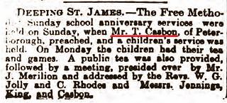 Stamford Mercury 7Jul1905 T Casbon Preaches Deeping St James