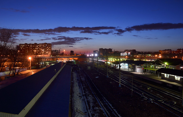 Bolshevo railway station after march sundown