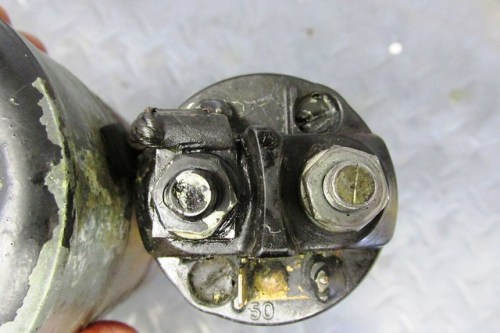 Field Coil Copper Wire Connection on Solenoid Threaded Terminal (Left)