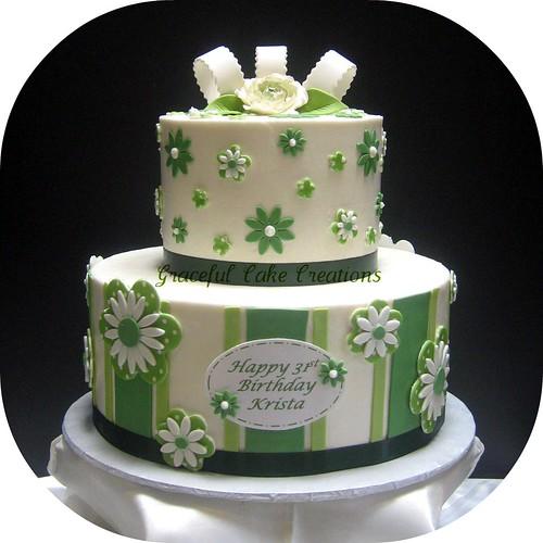 Green And White Birthday Cake Grace Tari Flickr