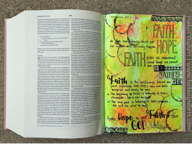 A Mixed Media Bible Journaling with ESV Interleaved Journaling Bible | http://wp.me/p1DmW0-2p9 #biblejournaling #biblejournalingcommunity #journalingbible #journalingbiblecommunity #biblejournaling101 #documentedfaith #writetheword #lampandlight #neatandtangled #latinacrafter #beablessing #latinacrafterstamps #ctmh #sakuraofamerica #pigmamicron #mixedmedia #stamping #creatingjoyfully #100daysofcreatingjoyfully #scrappingeverydaymiracles #semchallenge