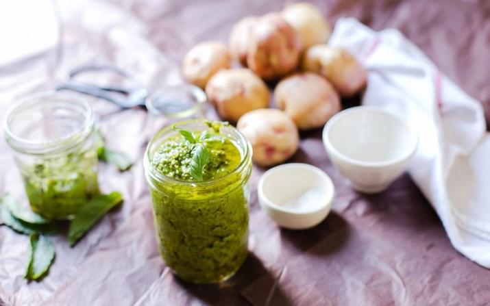 Basil Garlic Scape Pesto