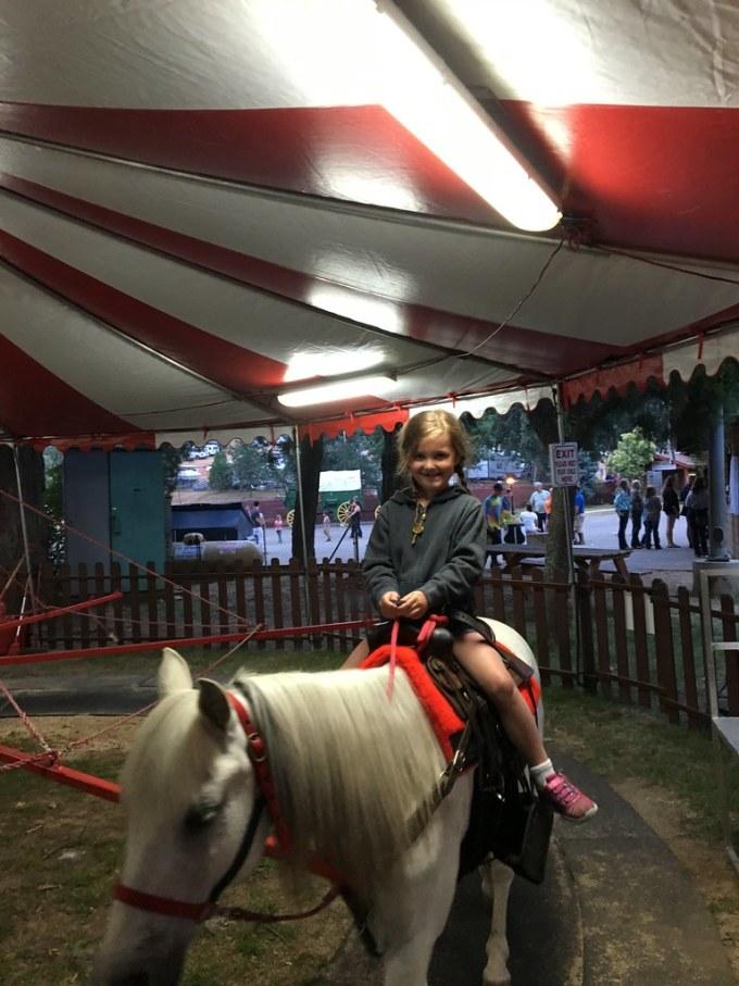 Renee riding a pony named Smokey