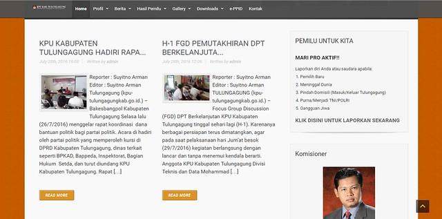 Tampilan fitur baru Laporan Masyarakat di www.kpu-tulungagungkab.go.id