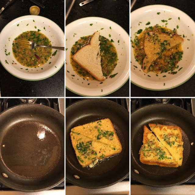 Spicy Bombay toast, step by step pictures of the preparation