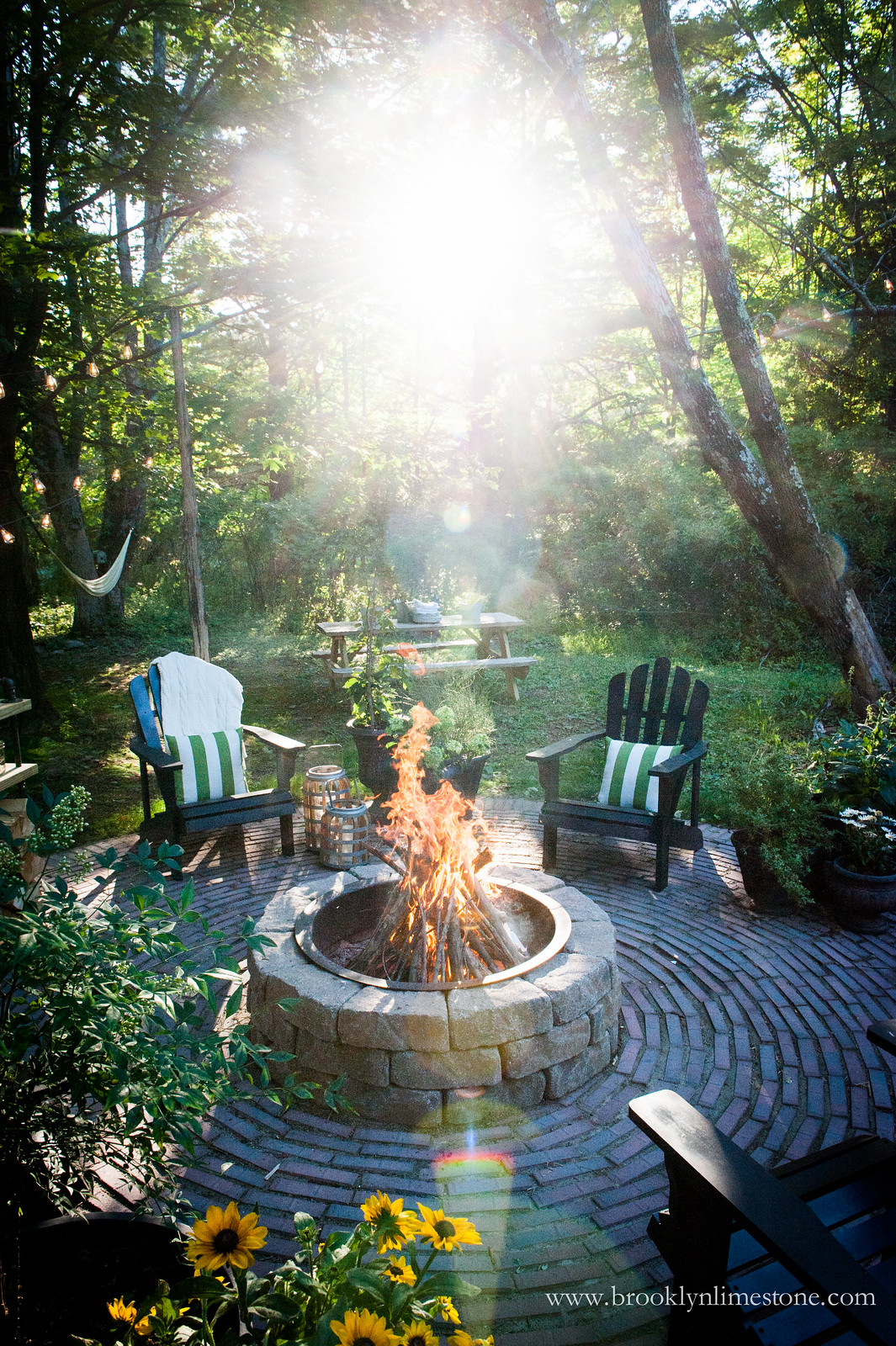 Firepit Patio  Country Cottage DIY Circular Outdoor Entertaining Space  Brooklyn Limestone