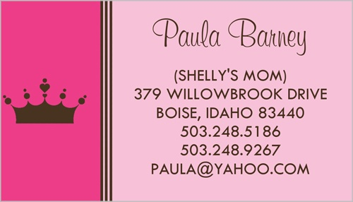 Pink Princess Personalized Business Cards Shutterfly