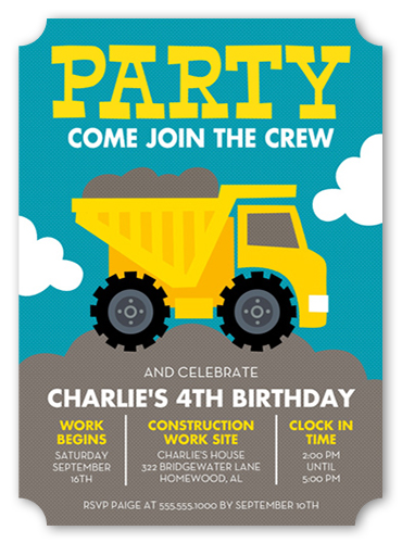 Party Truck 5x7 Flat Boys Birthday Party Invitations